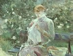 young woman sewing in a garden by berthe morisot painting