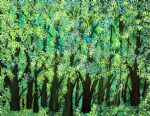 bob ross art - blue green forest by bob ross