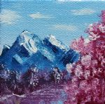 mountain watercolor paintings - bright blue mountains by bob ross