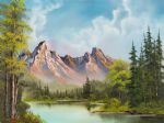 bob ross original paintings - crimson mountains by bob ross
