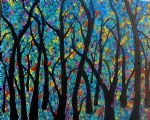 forest artwork - fantasy blue rainbow forest by bob ross