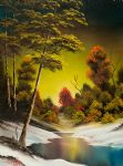 bob ross golden sunset painting-86033
