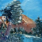 landscape artwork - leaning pine tree landscape by bob ross