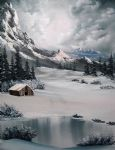 bob ross original paintings - lonely cabin by bob ross