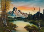 sunset oil paintings - mountain at sunset by bob ross