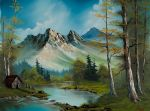 mountain cabin by bob ross painting