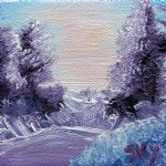 framing artwork - purple majesty landscape by bob ross