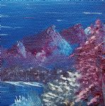 purple mountain landscape by bob ross painting