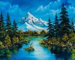 framed paintings - reflections of fall by bob ross