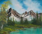 sad acrylic paintings - sawtooth saddle by bob ross