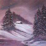 winter acrylic paintings - winter moon by bob ross