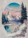 winter acrylic paintings - winter paradise oval by bob ross