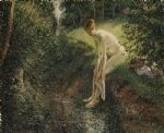 camille pissarro acrylic paintings - bather in the woods by camille pissarro
