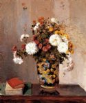 camille pissarro chrysanthemums in a chinese vase painting-78054