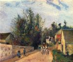camille pissarro acrylic paintings - postkutsche nach ennery 1877 by camille pissarro