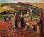 camille pissarro art - potato harvest by camille pissarro