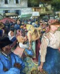 poultry market pontoise by camille pissarro painting