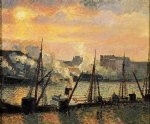 camille pissarro quay in rouen sunset painting 36283