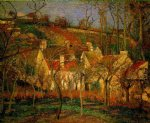 camille pissarro red roofs corner of a village winter print