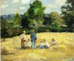resting harvesters montfoucault by camille pissarro painting