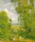 camille pissarro resting in the woods at pontoise posters