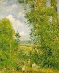 camille pissarro art - resting in the woods at pontoise by camille pissarro
