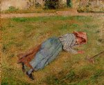 camille pissarro art - resting peasant girl lying on the grass pontoise by camille pissarro