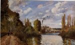 camille pissarro riverbanks in pontoise painting