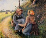 camille pissarro seated and kneeling peasants art