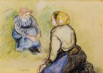 camille pissarro seated peasant and knitting peasant art