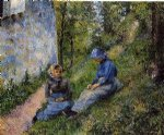 camille pissarro seated peasants sewing art