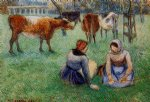 cow posters - seated peasants watching cows by camille pissarro