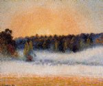 camille pissarro setting sun and fog eragny painting
