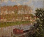 camille pissarro setting sun at moret painting