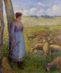 camille pissarro shepherdess and sheep painting