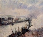 camille pissarro steamboats in the port of rouen painting