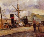 boat watercolor paintings - steamboats by camille pissarro