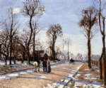 street original paintings - street winter sunlight and snow by camille pissarro
