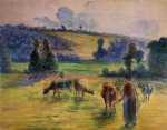 cow posters - study for cowherd at eragny by camille pissarro