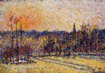 sunset original paintings - sunset bazincourt steeple by camille pissarro