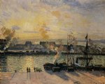 camille pissarro sunset the port of rouen painting 36375