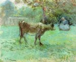cow posters - the cowherd ii by camille pissarro