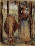 cow posters - the cowherd iii by camille pissarro