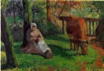 cow posters - the cowherd iv by camille pissarro