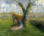 cow posters - the cowherd by camille pissarro