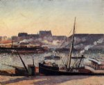 camille pissarro the docks rouen afternoon painting