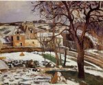 camille pissarro the effect of snow at l hermitage pontoise painting