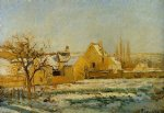 camille pissarro the effect of snow at l hermitage painting