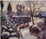 camille pissarro the effect of snow at montfoucault painting
