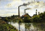 camille pissarro the factory at pontoise painting